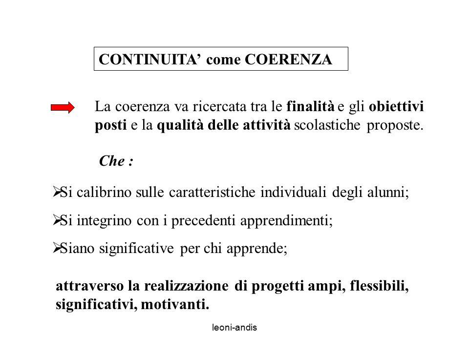 leoni-andis CONTINUITA' come COERENZA La coerenza va ricercata tra le finalità e gli obiettivi posti e la qualità delle attività scolastiche proposte.