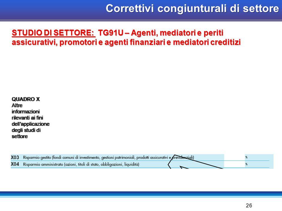 26 Correttivi congiunturali di settore STUDIO DI SETTORE: TG91U – Agenti, mediatori e periti assicurativi, promotori e agenti finanziari e mediatori creditizi