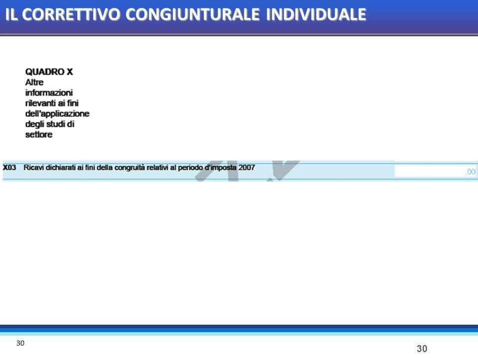 30 IL CORRETTIVO CONGIUNTURALE INDIVIDUALE