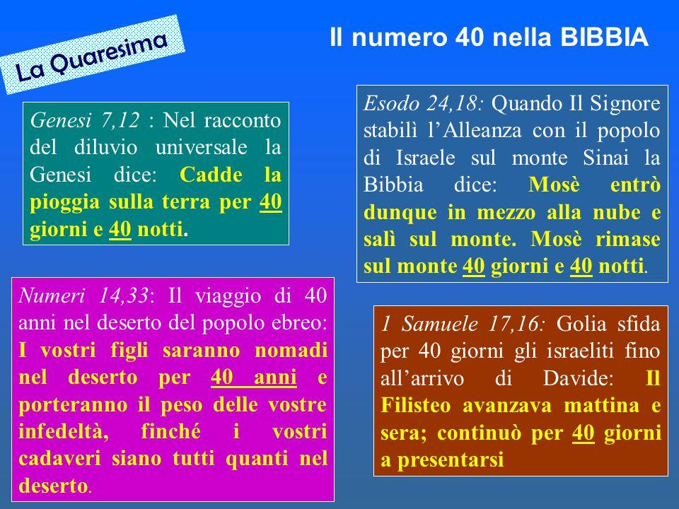Il numero 40 nella BIBBIA Genesi 7,12 : Nel racconto del diluvio universale la Genesi dice: Cadde la pioggia sulla terra per 40 giorni e 40 notti. Eso