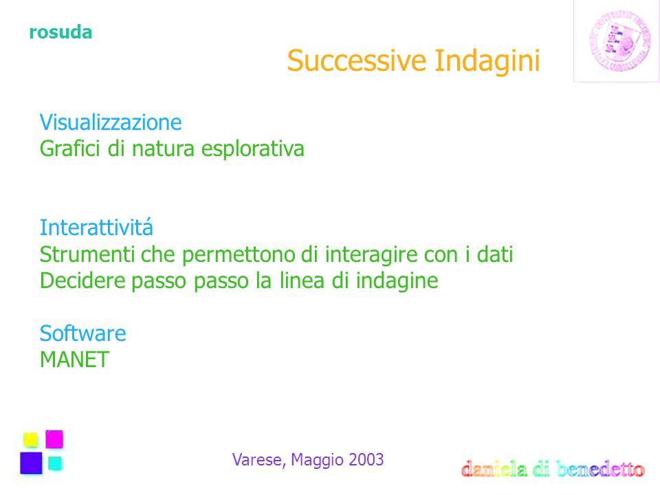 rosuda Varese, Maggio 2003 Successive Indagini Visualizzazione Grafici di natura esplorativa Interattivitá Strumenti che permettono di interagire con