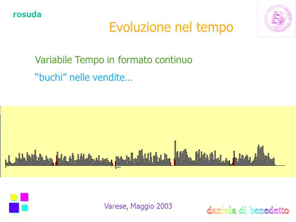 rosuda Varese, Maggio 2003 Evoluzione nel tempo Variabile Tempo in formato continuo buchi nelle vendite…