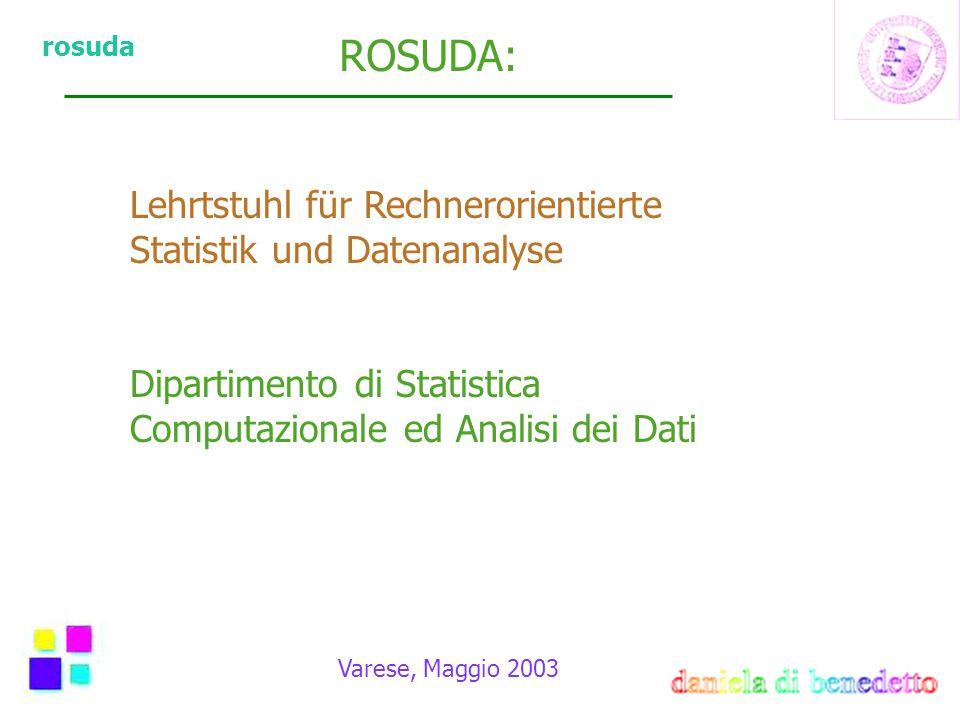 rosuda Varese, Maggio 2003 Successive Indagini Visualizzazione Grafici di natura esplorativa Interattivitá Strumenti che permettono di interagire con i dati Decidere passo passo la linea di indagine Software MANET