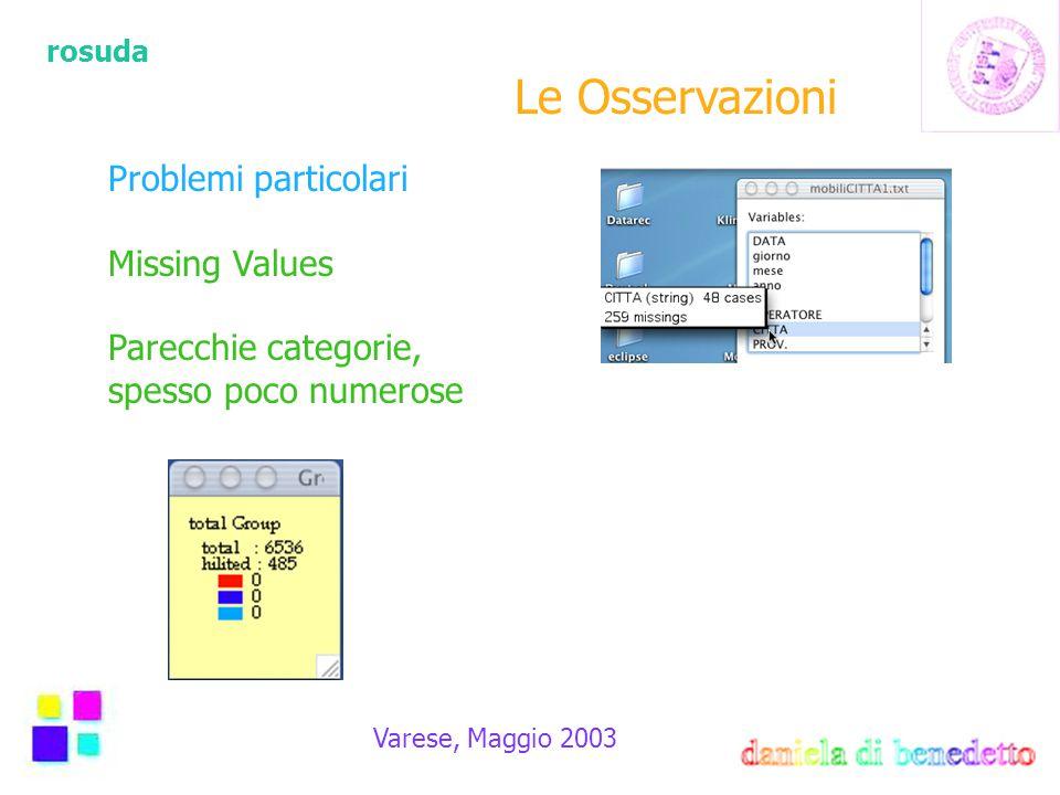 rosuda Varese, Maggio 2003 Le Osservazioni Problemi particolari Missing Values Parecchie categorie, spesso poco numerose