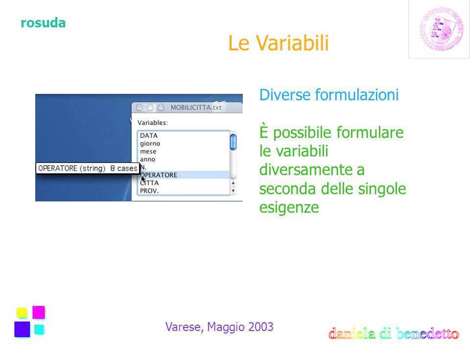 rosuda Varese, Maggio 2003 Le Variabili Diverse formulazioni È possibile formulare le variabili diversamente a seconda delle singole esigenze