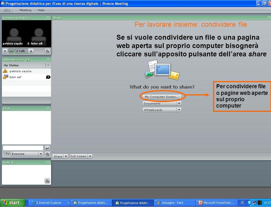 Se si vuole condividere un file o una pagina web aperta sul proprio computer bisognerà cliccare sull'apposito pulsante dell'area share Per condividere