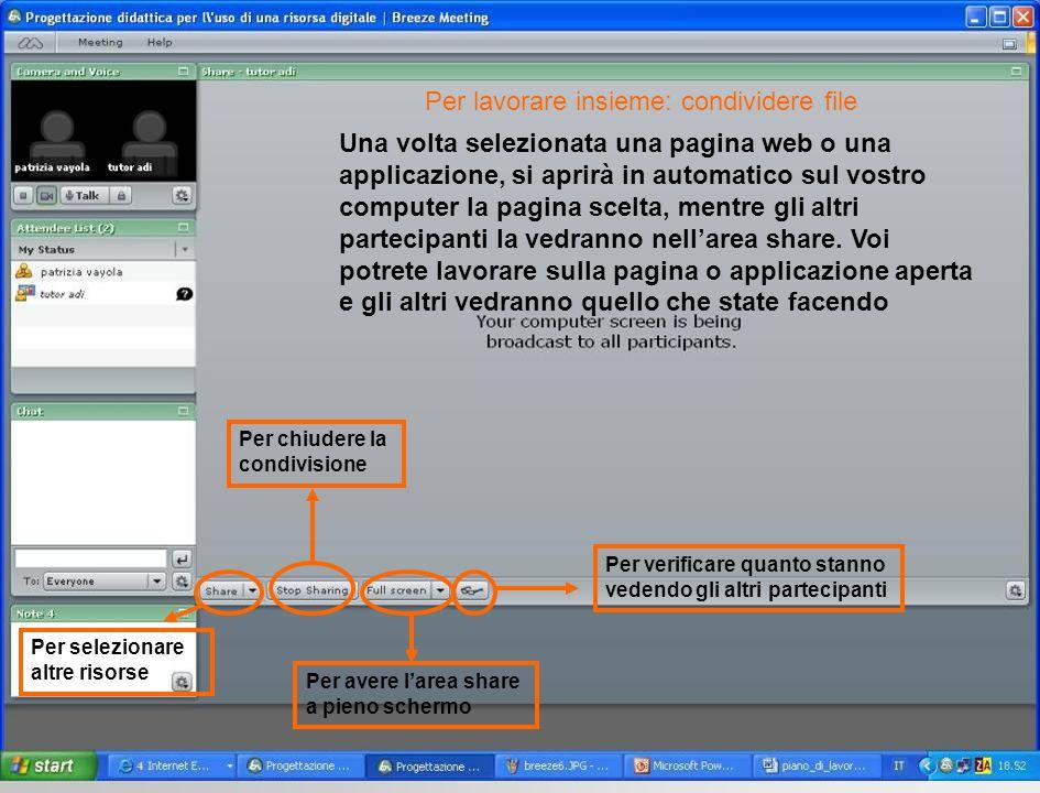 Una volta selezionata una pagina web o una applicazione, si aprirà in automatico sul vostro computer la pagina scelta, mentre gli altri partecipanti l