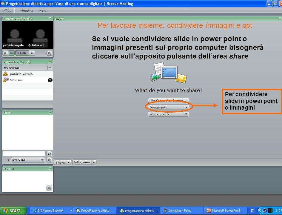 Se si vuole condividere slide in power point o immagini presenti sul proprio computer bisognerà cliccare sull'apposito pulsante dell'area share Per co