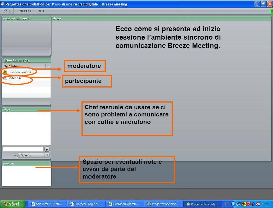 Ecco come si presenta ad inizio sessione l'ambiente sincrono di comunicazione Breeze Meeting. moderatore partecipante Chat testuale da usare se ci son