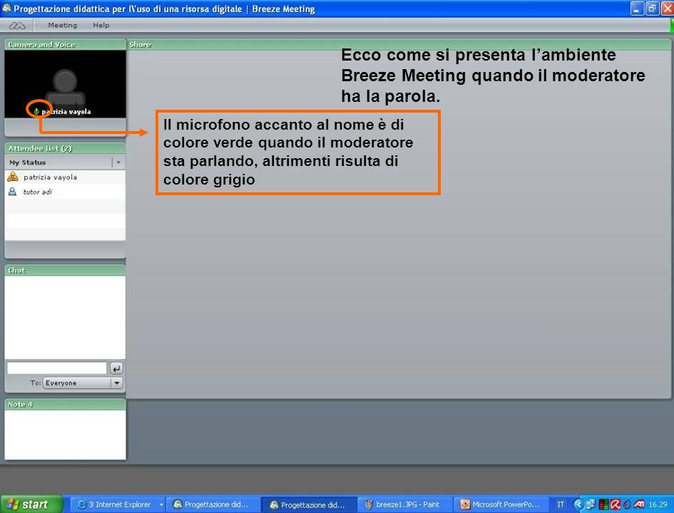 Gli strumenti del partecipante il partecipante ha una serie di strumenti per comunicare velocemente ai colleghi e al moderatore le sue esigenze rispetto all'andamento del discorso.