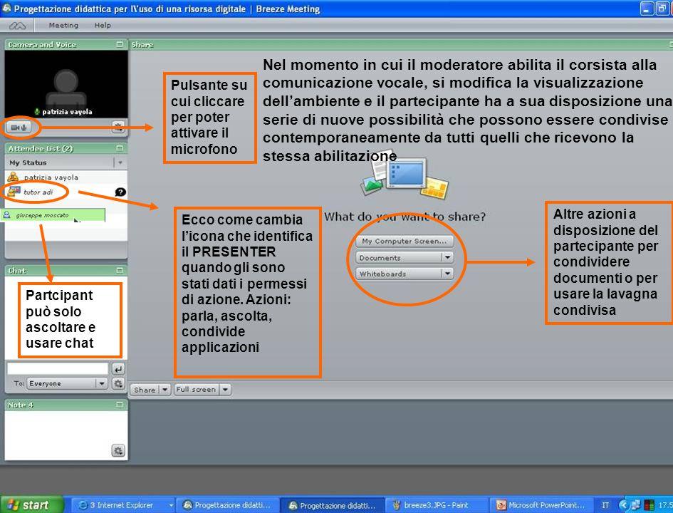 Nel momento in cui il moderatore abilita il corsista alla comunicazione vocale, si modifica la visualizzazione dell'ambiente e il partecipante ha a su