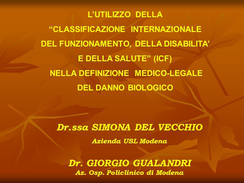 MODELLO TEORICO DEL DANNO ALLA PERSONA MODIFICAZIONI PATOLOGICHE E LORO MANIFESTAZIONI (sintomi e segni) DISEASE OR DISORDER LA MALATTIA E' OBIETTIVABILE IMPAIRMENT LIMITAZIONE DELL'ATTIVITA' OBIETTIVABILE DISABILITY RISPOSTA DELLA SOCIETA' ALL'ESPERIENZA DELL'INDIVIDUO HANDICAP