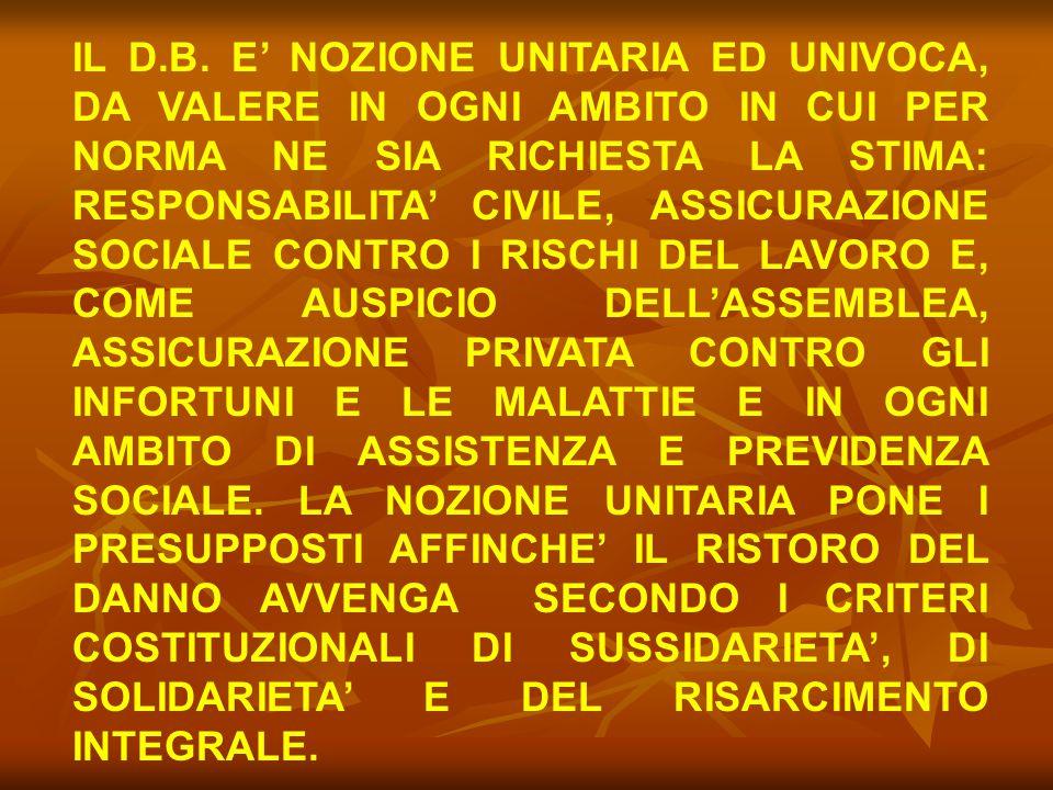 IL D.B. E' NOZIONE UNITARIA ED UNIVOCA, DA VALERE IN OGNI AMBITO IN CUI PER NORMA NE SIA RICHIESTA LA STIMA: RESPONSABILITA' CIVILE, ASSICURAZIONE SOC