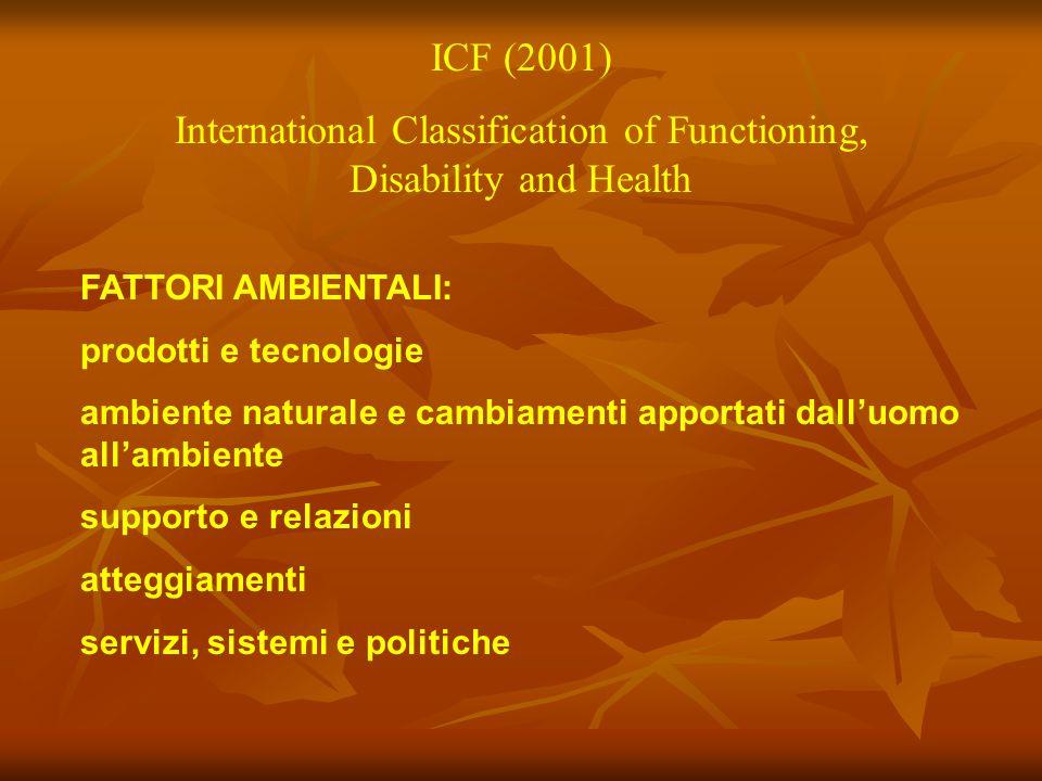 ICF (2001) International Classification of Functioning, Disability and Health FATTORI AMBIENTALI: prodotti e tecnologie ambiente naturale e cambiament