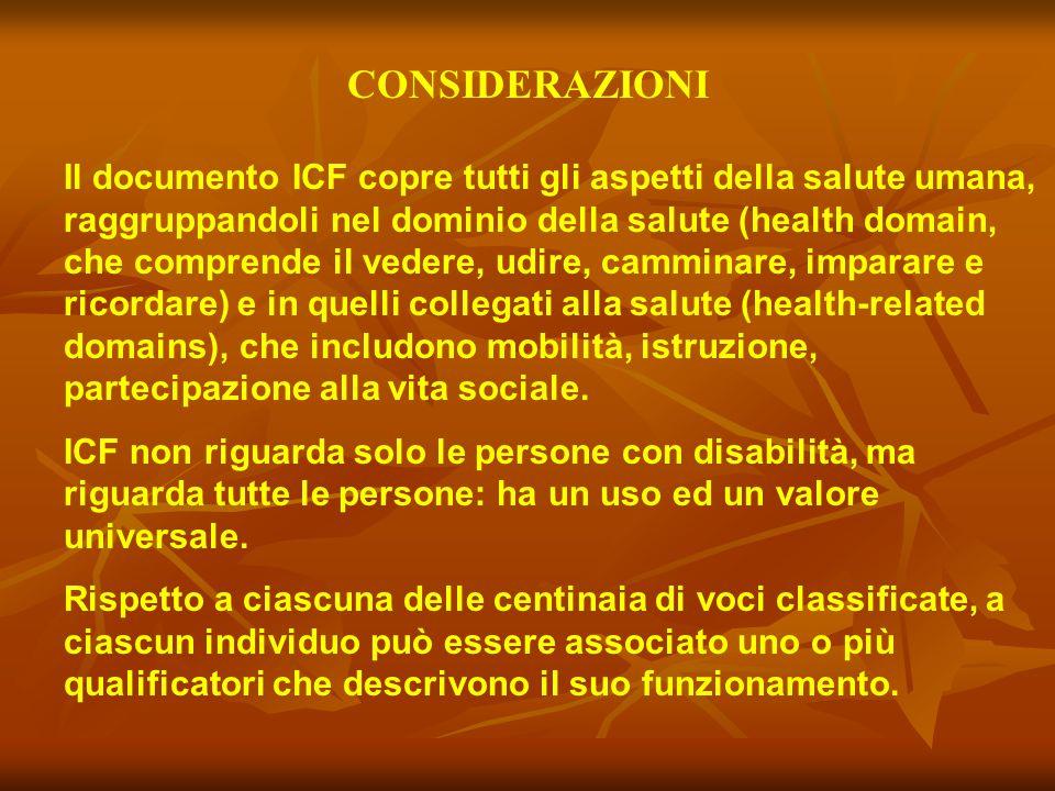 CONSIDERAZIONI Il documento ICF copre tutti gli aspetti della salute umana, raggruppandoli nel dominio della salute (health domain, che comprende il v