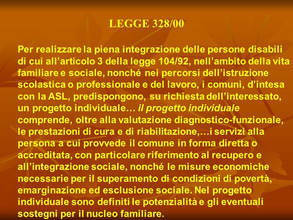 LEGGE 328/00 Per realizzare la piena integrazione delle persone disabili di cui all'articolo 3 della legge 104/92, nell'ambito della vita familiare e