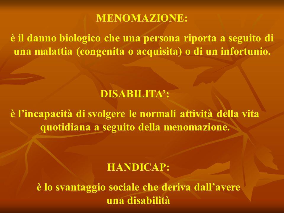 MENOMAZIONE: è il danno biologico che una persona riporta a seguito di una malattia (congenita o acquisita) o di un infortunio. DISABILITA': è l'incap