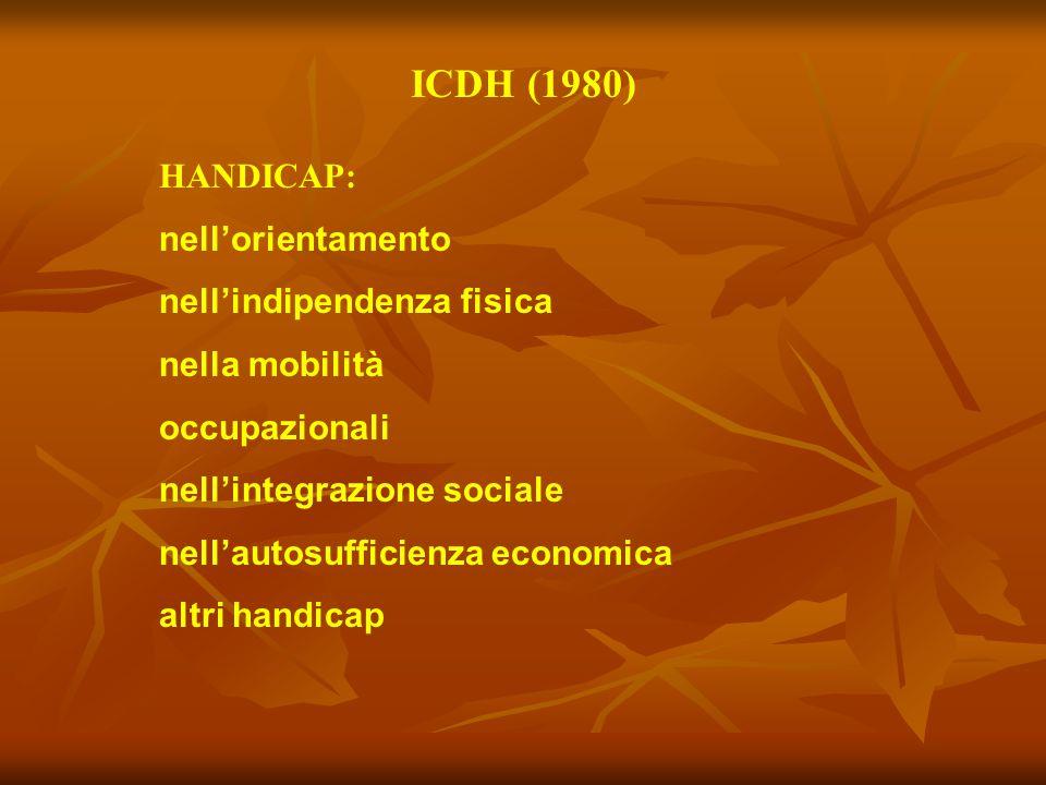 ICDH (1980) HANDICAP: nell'orientamento nell'indipendenza fisica nella mobilità occupazionali nell'integrazione sociale nell'autosufficienza economica