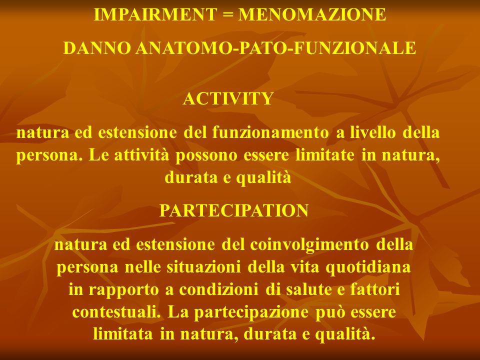 IMPAIRMENT = MENOMAZIONE DANNO ANATOMO-PATO-FUNZIONALE ACTIVITY natura ed estensione del funzionamento a livello della persona. Le attività possono es
