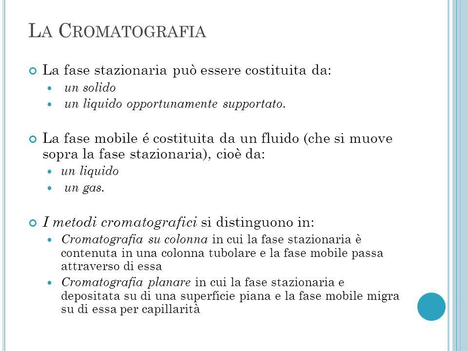 L A C ROMATOGRAFIA La fase stazionaria può essere costituita da: un solido un liquido opportunamente supportato. La fase mobile é costituita da un flu