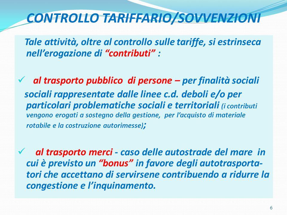CONTROLLO TARIFFARIO/SOVVENZIONI Tale attività, oltre al controllo sulle tariffe, si estrinseca nell'erogazione di contributi : al trasporto pubblico di persone – per finalità sociali sociali rappresentate dalle linee c.d.