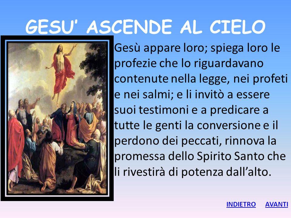 GESU' ASCENDE AL CIELO Gesù appare loro; spiega loro le profezie che lo riguardavano contenute nella legge, nei profeti e nei salmi; e li invitò a ess