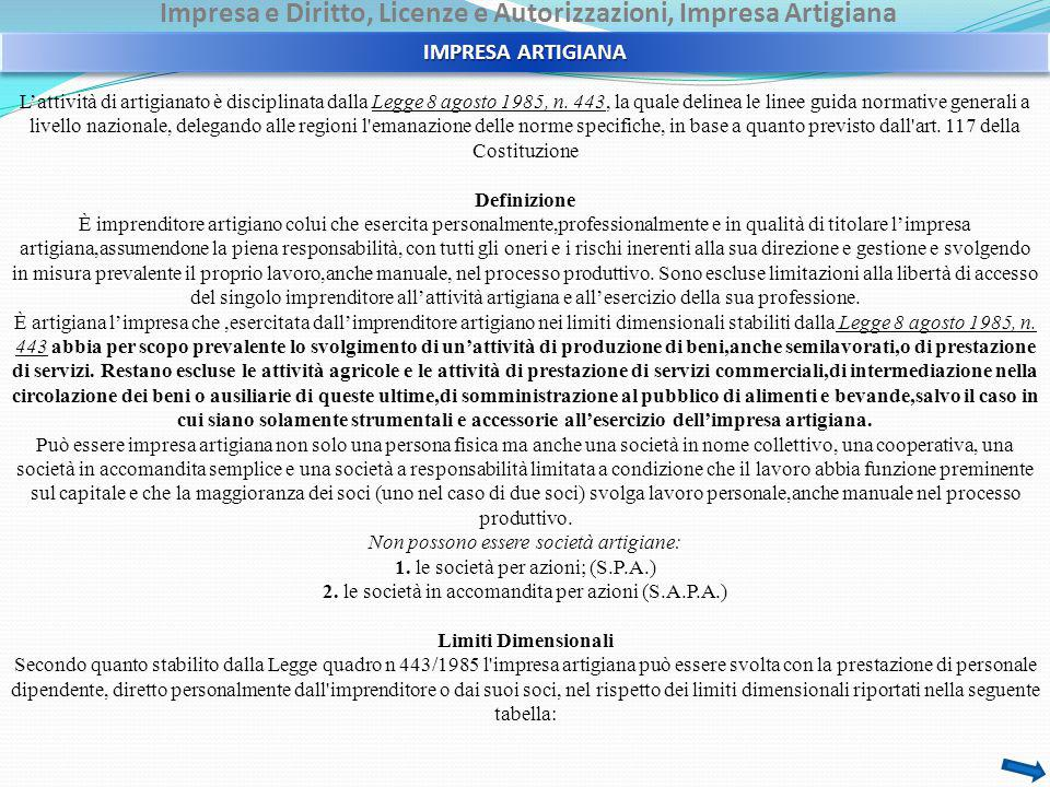 Impresa e Diritto, Licenze e Autorizzazioni, Impresa Artigiana L'attività di artigianato è disciplinata dalla Legge 8 agosto 1985, n.