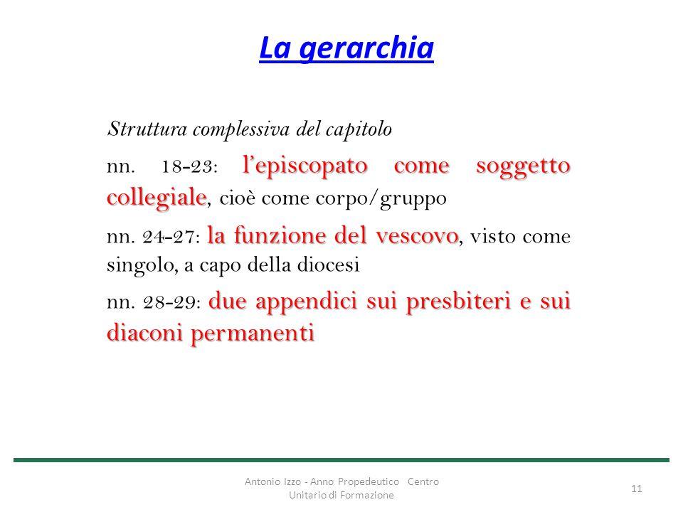 La gerarchia Struttura complessiva del capitolo l'episcopato come soggetto collegiale nn. 18-23: l'episcopato come soggetto collegiale, cioè come corp