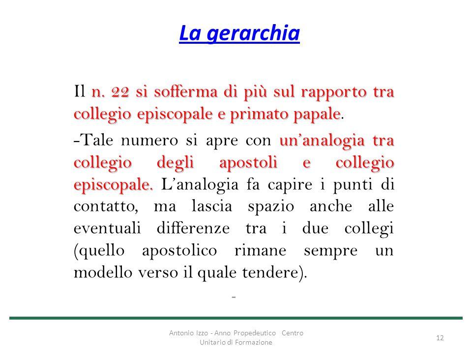 La gerarchia n. 22 si sofferma di più sul rapporto tra collegio episcopale e primato papale Il n. 22 si sofferma di più sul rapporto tra collegio epis
