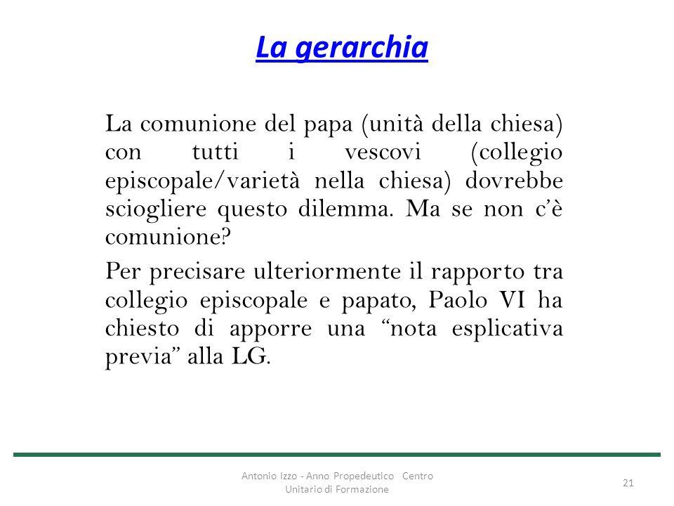 La gerarchia La comunione del papa (unità della chiesa) con tutti i vescovi (collegio episcopale/varietà nella chiesa) dovrebbe sciogliere questo dile