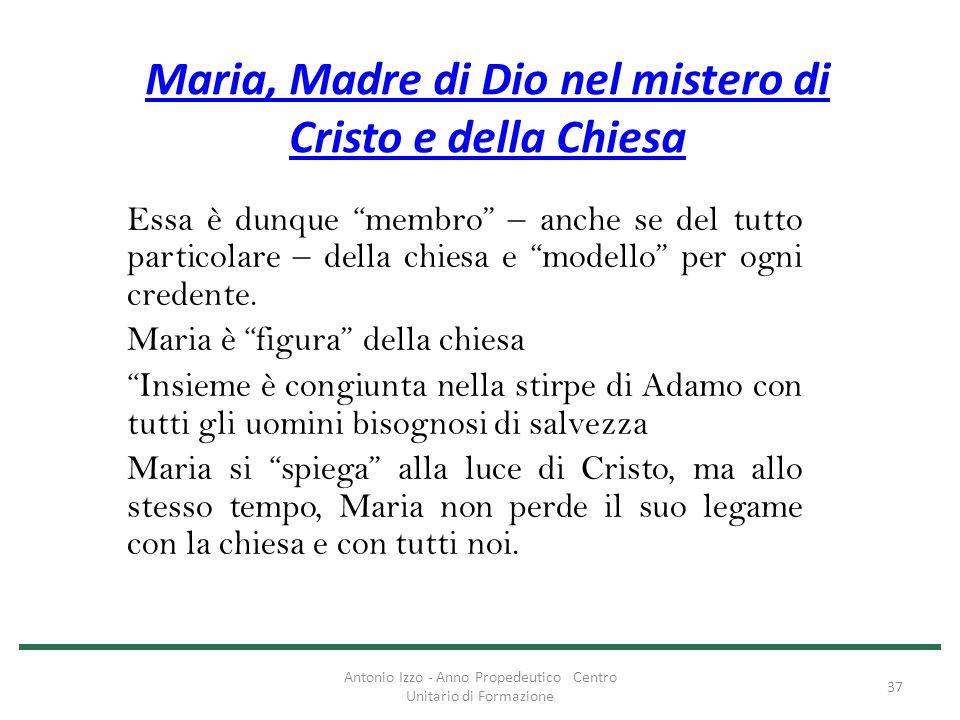 """Maria, Madre di Dio nel mistero di Cristo e della Chiesa Essa è dunque """"membro"""" – anche se del tutto particolare – della chiesa e """"modello"""" per ogni c"""
