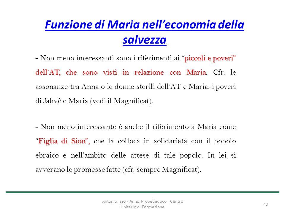 """Funzione di Maria nell'economia della salvezza piccoli e poveri"""" dell'AT, che sono visti in relazione con Maria - Non meno interessanti sono i riferim"""