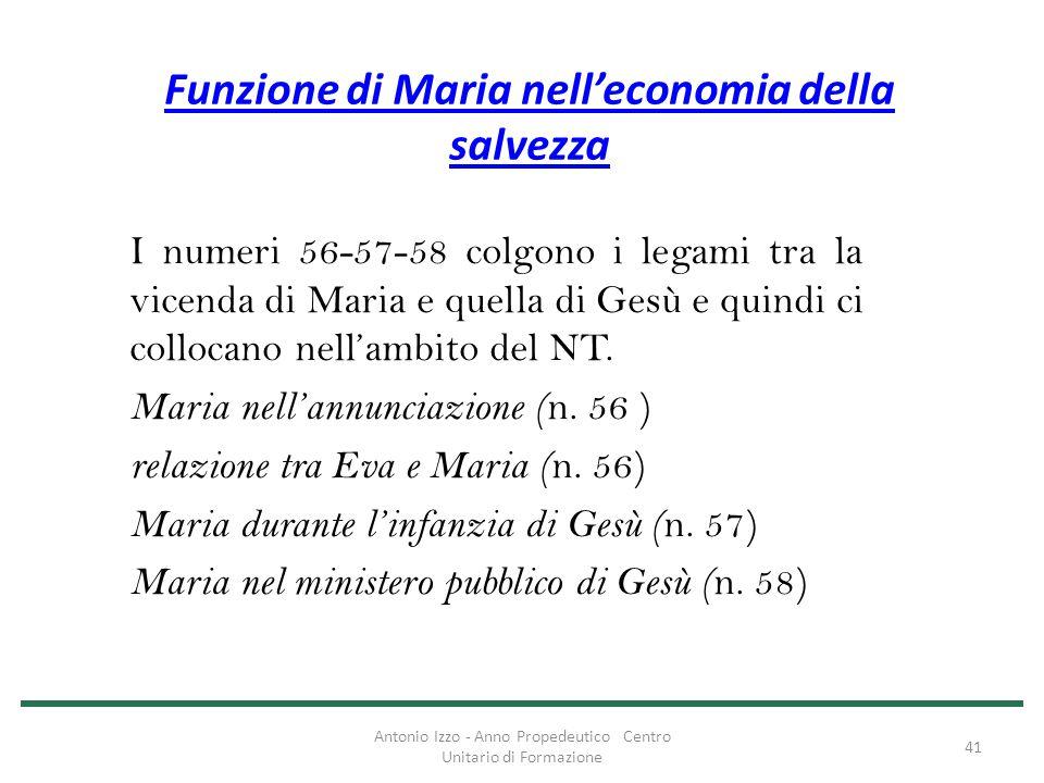 Funzione di Maria nell'economia della salvezza I numeri 56-57-58 colgono i legami tra la vicenda di Maria e quella di Gesù e quindi ci collocano nell'