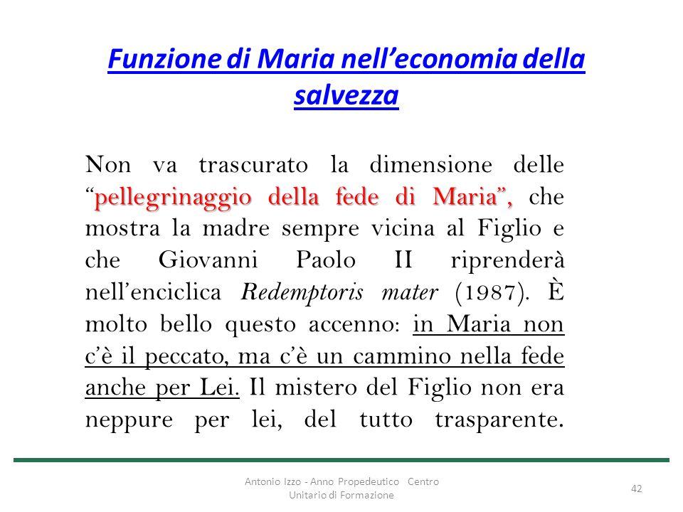 """Funzione di Maria nell'economia della salvezza pellegrinaggio della fede di Maria"""", Non va trascurato la dimensione delle """"pellegrinaggio della fede d"""