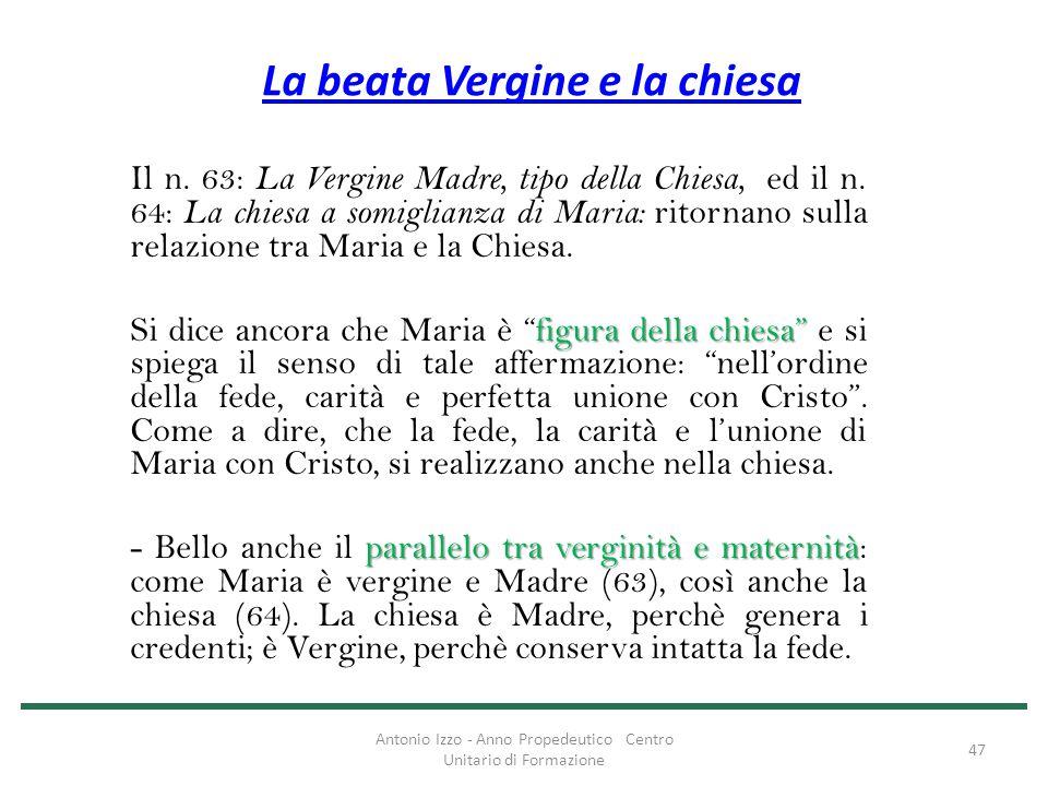 La beata Vergine e la chiesa Il n. 63: La Vergine Madre, tipo della Chiesa, ed il n. 64: La chiesa a somiglianza di Maria: ritornano sulla relazione t
