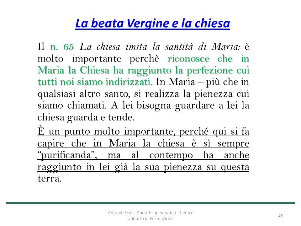 La beata Vergine e la chiesa n. 65 riconosce che in Maria la Chiesa ha raggiunto la perfezione cui tutti noi siamo indirizzati. Il n. 65 La chiesa imi