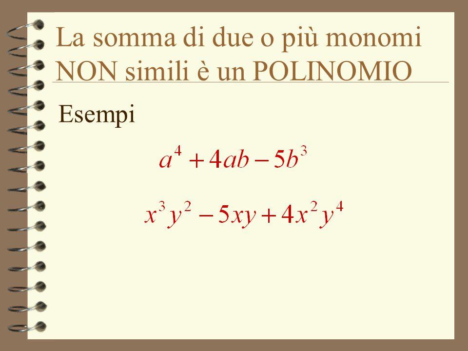 La somma di due o più monomi NON simili è un POLINOMIO Esempi