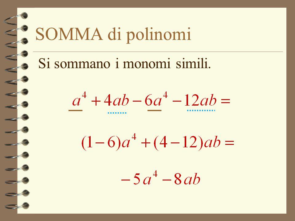 SOMMA di polinomi Si sommano i monomi simili.