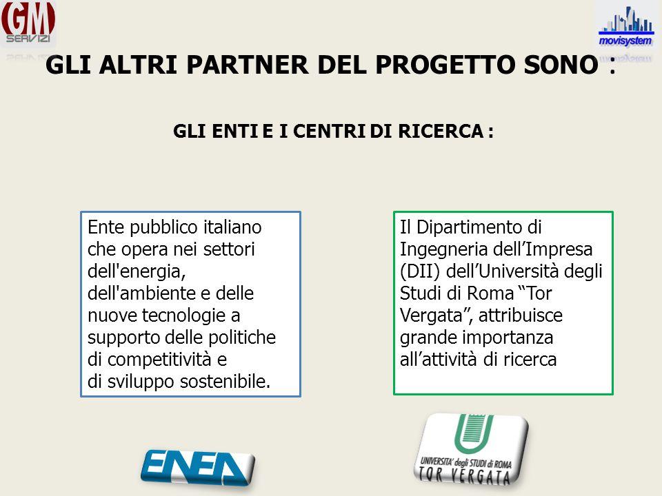 GLI ALTRI PARTNER DEL PROGETTO SONO : GLI ENTI E I CENTRI DI RICERCA : Ente pubblico italiano che opera nei settori dell energia, dell ambiente e delle nuove tecnologie a supporto delle politiche di competitività e di sviluppo sostenibile.