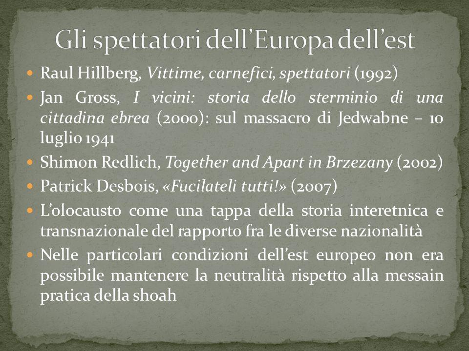 Raul Hillberg, Vittime, carnefici, spettatori (1992) Jan Gross, I vicini: storia dello sterminio di una cittadina ebrea (2000): sul massacro di Jedwab