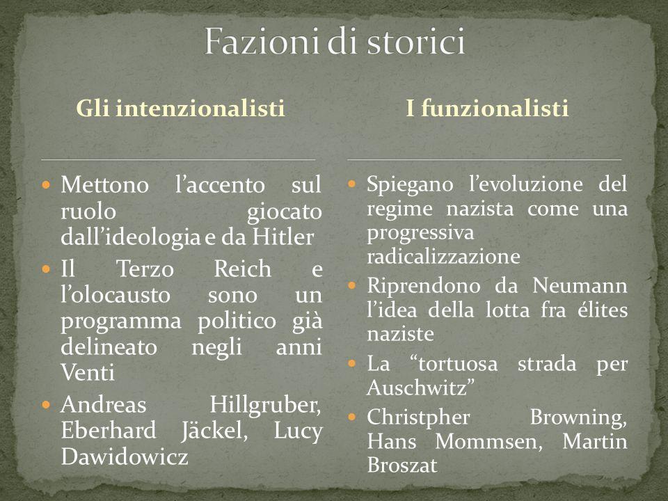 Gli intenzionalisti Mettono l'accento sul ruolo giocato dall'ideologia e da Hitler Il Terzo Reich e l'olocausto sono un programma politico già delinea