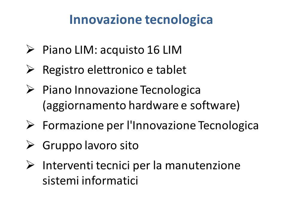 Innovazione tecnologica  Piano LIM: acquisto 16 LIM  Registro elettronico e tablet  Piano Innovazione Tecnologica (aggiornamento hardware e software)  Formazione per l Innovazione Tecnologica  Gruppo lavoro sito  Interventi tecnici per la manutenzione sistemi informatici