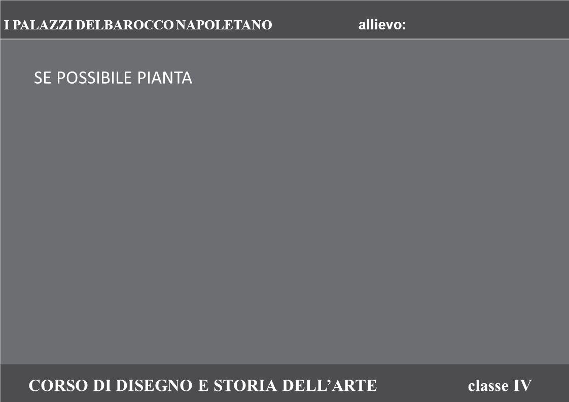 CORSO DI DISEGNO E STORIA DELL'ARTEclasse IV SE POSSIBILE PIANTA I PALAZZI DELBAROCCO NAPOLETANO allievo:
