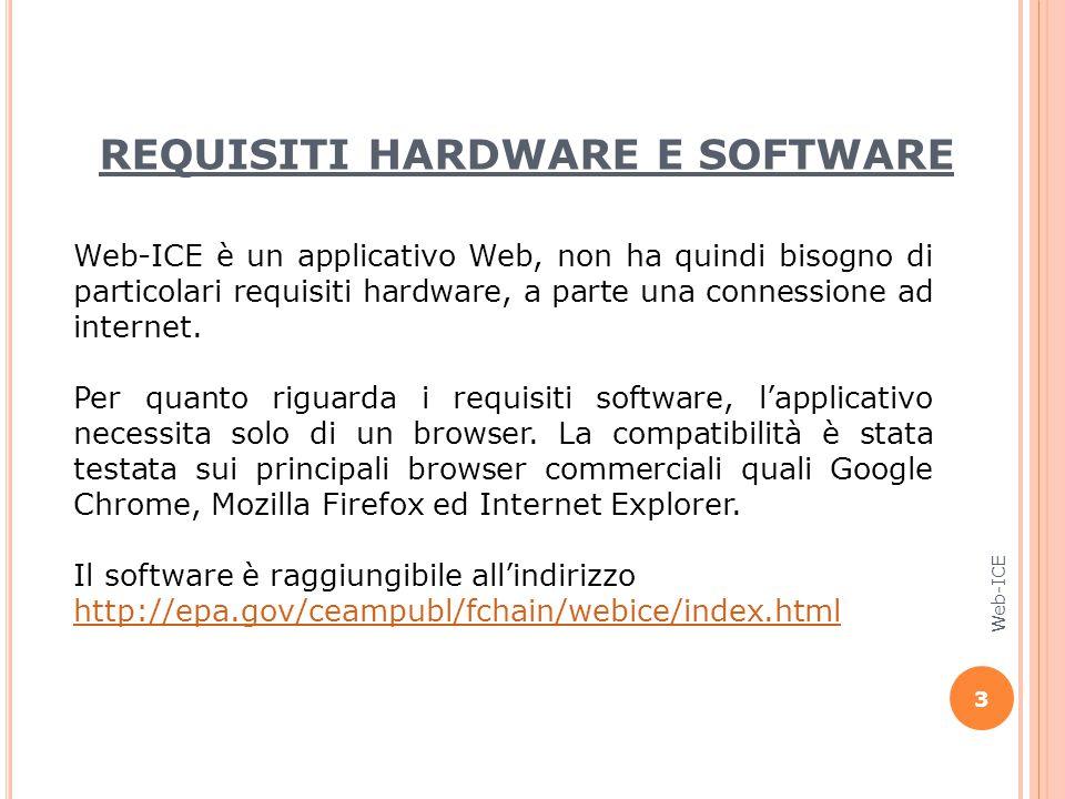 REQUISITI HARDWARE E SOFTWARE Web-ICE è un applicativo Web, non ha quindi bisogno di particolari requisiti hardware, a parte una connessione ad intern