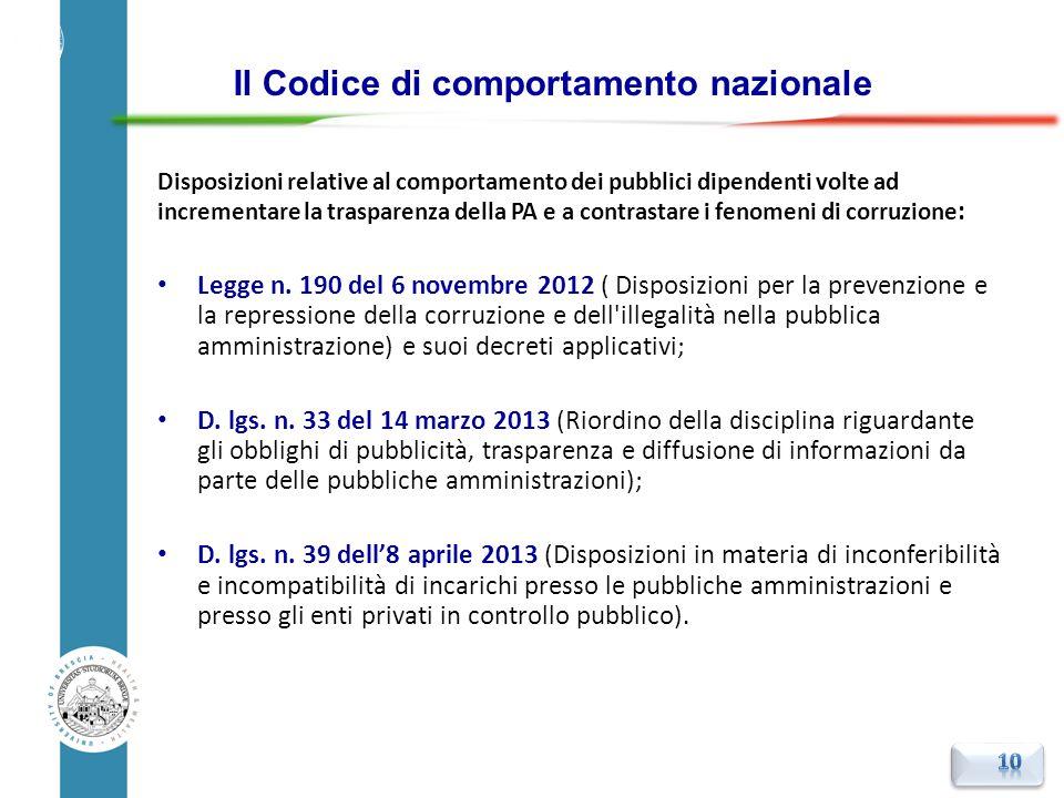 Disposizioni relative al comportamento dei pubblici dipendenti volte ad incrementare la trasparenza della PA e a contrastare i fenomeni di corruzione
