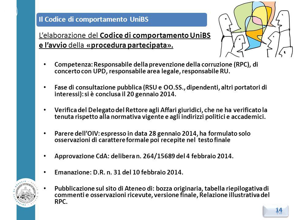 L'elaborazione del Codice di comportamento UniBS e l'avvio della «procedura partecipata». Competenza: Responsabile della prevenzione della corruzione