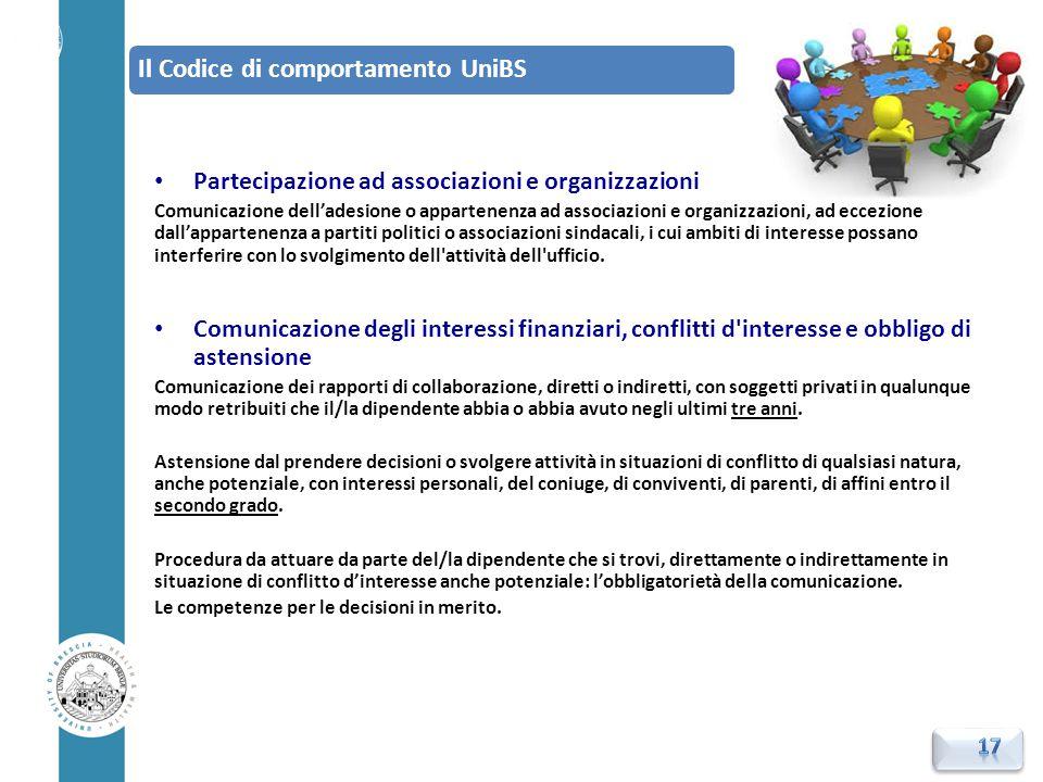 Partecipazione ad associazioni e organizzazioni Comunicazione dell'adesione o appartenenza ad associazioni e organizzazioni, ad eccezione dall'apparte
