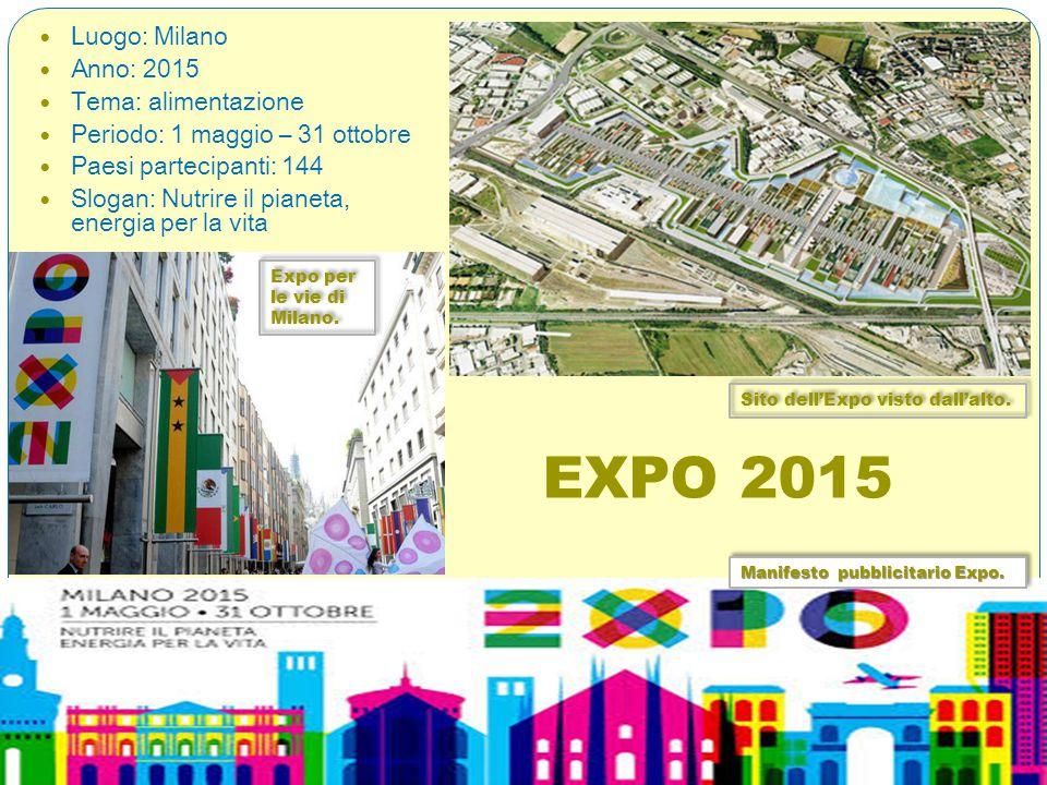 EXPO 2015 Luogo: Milano Anno: 2015 Tema: alimentazione Periodo: 1 maggio – 31 ottobre Paesi partecipanti: 144 Slogan: Nutrire il pianeta, energia per la vita Manifesto pubblicitario Expo.
