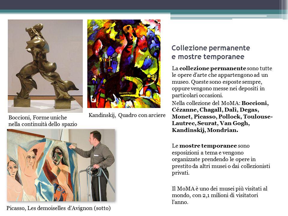 Collezione permanente e mostre temporanee La collezione permanente sono tutte le opere d'arte che appartengono ad un museo. Queste sono esposte sempre