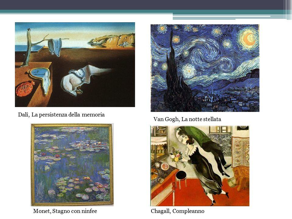 Dalì, La persistenza della memoria Van Gogh, La notte stellata Monet, Stagno con ninfeeChagall, Compleanno
